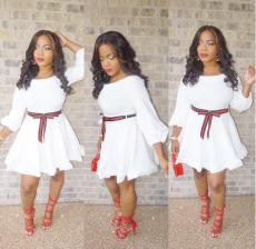 White Slash Neck Long Sleeve Belt Mini Dress CQ-5115