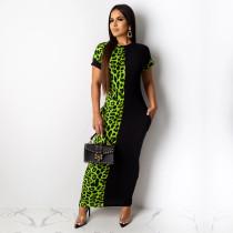 Leoaprd Print Patchwork Short Sleeve Long Maxi Dresses TE-3834