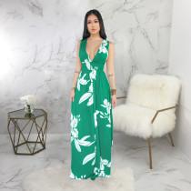 Sexy Printed Deep V Neck Sleeveless Maxi Dresses SMR9225