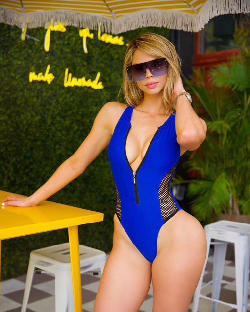Sexy Mesh Splice Bikini Sleeveless Zipper One Piece Swimsuit MJ-217