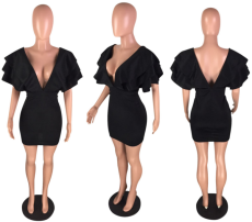 Black V Neck Ruffles Bodycon Mini Dress WZ-8117