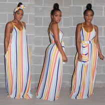 Colorful Striped Spaghetti Strap Sashes Maxi Dresses MUM-5002