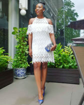 Sexy White Lace Off Shoulder Mini Dresses LS-0258