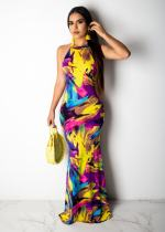 Sexy Printed Sleeveless Backless Slim Long Maxi Dress MIL-013