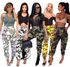 Camouflage Print Pocket Belted Long Pants LSL-6114