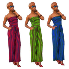 Sexy Striped Strapless One Piece Tube Jumpsuit HM-6146