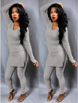 Gray Knitted Long Tops And Skinny Pants Set LS-0229