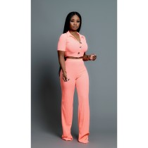 Solid Short Sleeve Crop Top And Pants Two Piece Sets BS-1107
