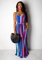 Colored Stripe Spaghetti Strap Maxi Dress With Headscarf TR-956