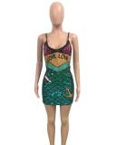 Green Sequin Dress Club Wear TE-3331