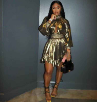 Gold Turtleneck Hollow Irregular Club Dress CQ-5131