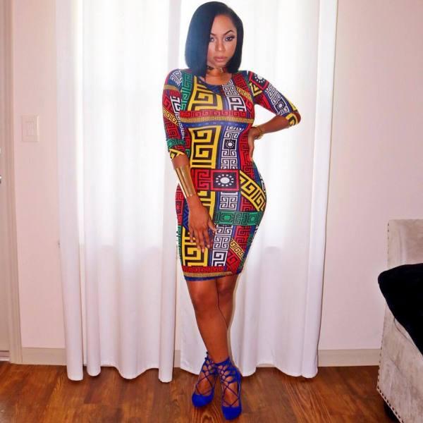 Plus Size Ethnic Printed Tight Bodycon Dress PIN-8295
