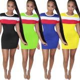 Color Splice Short Sleeve Mini Bodycon Dress YN-9090