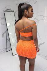 Rhinestone Strapless Mini Skirt Two Piece Set YM-9128