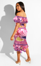 Sexy Ruffles Off Shoulder Crop Tops And Skirt Set YD-8086
