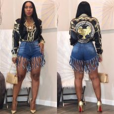 Plus Size Tassel Bodycon Jeans Shorts MOF-5067