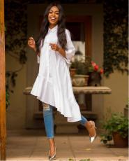 White Irregular Ruffles Shirt Dress YMT-6034