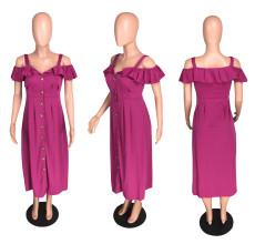 Solid Off Shoulder Ruffles Maxi Dress WZ-8163