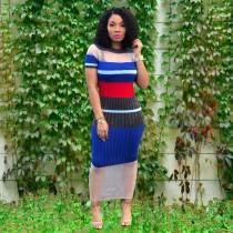 Mesh Patchwork Stripes Slim Maxi Dress ORY-5094