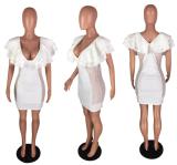 Ruffles Mesh Sexy Bodycon White Dress WZ-8081