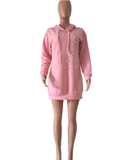 Pearl Beading Pink Hooded Mini Dress CQ-5110