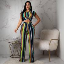 Colorful Stripes Short Sleeve Two Piece Set LA-3085