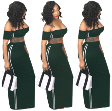Green 2 Pcs Side Striped Maxi Dress YS-8266