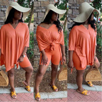 Solid Color V Neck Top And Shorts Casual Two Piece Set HZM-6004