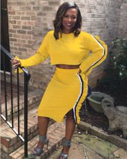 Yellow Side Ruched Striped Casual 2 Piece Skirt Set  MA-131