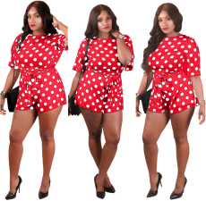 Red Wave Point Loose Romper QY-5042