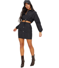 Pink Full Sleeve Crop Top Mini Skirt Set YM-9043