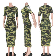 Camouflage Print Half Sleeve O Neck Slim Long Dress ASL-6168