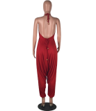 Red Backless Loose Jumpsuit YN-990