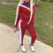 Wine Red Patchwork Tracksuit Two Piece Set YMT-6032