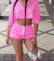 Pink Long Sleeves Two Pieces Shorts Sets TEN-3322