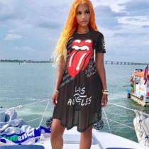 Sexy Lips Print Mesh See Through Short Sleeve Club Dress CH-8050