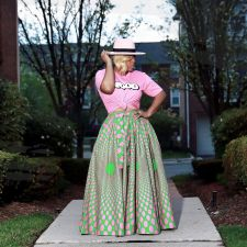 Fashion Printed Big Swing Long Maxi Skirts MOF-5089