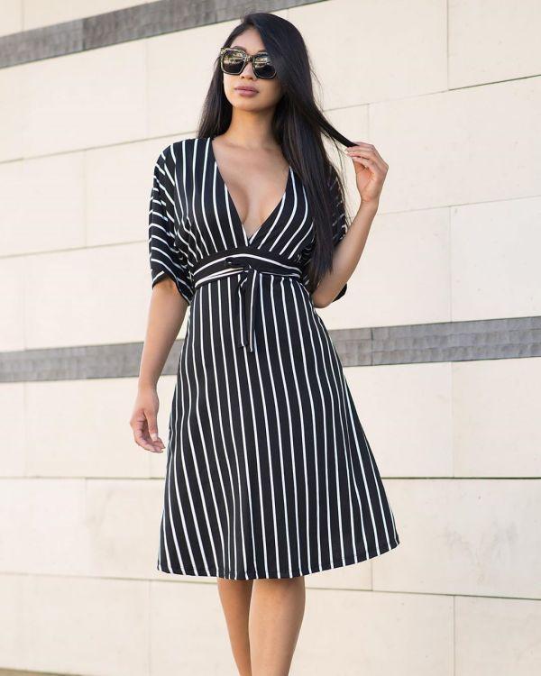 Sexy Striped Deep V Neck Midi Dresses YMT-6081