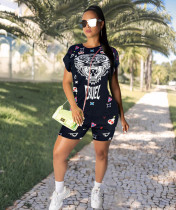 Casual Printed Short Sleeve Two Piece Shorts Set GS-1146