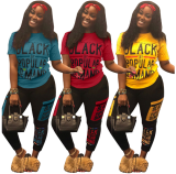 Plus Size Letter Print T Shirts Slim Pant Sets LSL-6168