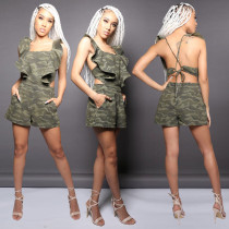 Denim Camouflage Print Open Back Rufeles Side Rompers AL-085