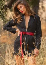 Black Front Zipper Long Sleeve Bodycon Mini Dress HM-6064