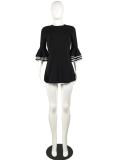Black Flare Sleeve Backless Mini Dress MK-1016