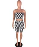 Black White Plaid Crop Top + Shorts Racing Suits 2 Pcs WZ-8088