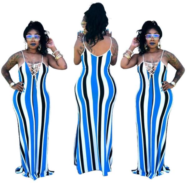 Blue Spaghetti Straps Maxi  Dress YSF-153
