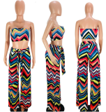 Colorful Wave Striped Two Piece Pant Sets OJS-9013