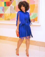 Women Blue Tassel Bodycon Club Dress Plus Size LSL-8011