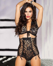 Black Lace High Waist Bralette Lingerie Sets YQ-6027
