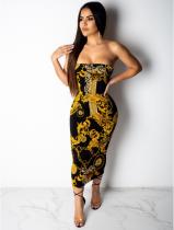 Retro Printed Club Strapless Midi Wrap Dresses QZX-6036