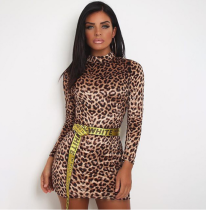 Leopard Print Turtleneck Long Sleeve Mini Bodycon Dress VD-5170